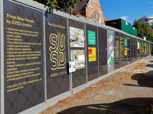 construction hoarding at Luton